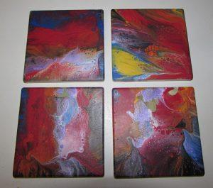 Acrylic Paint Pour Tiles