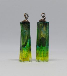 Green and gold dangle earrings