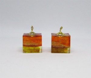 "Layered orange and gold ""ice cube"" earrings"