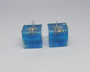 "Blue silver ""ice cube"" earrings"