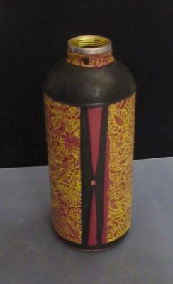 Red Black Gold artisan water bottle